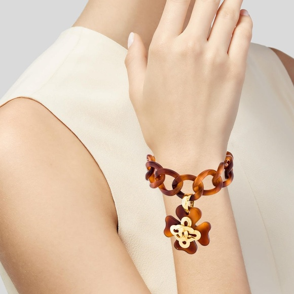 CHANEL Jewelry - Vintage CHANEL Tortoiseshell CC Charm Bracelet .